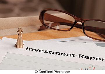 befektetés, jelent, levél, dokumentum, és, eyeglass;, dokumentum, van, mock-up