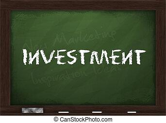 befektetés, képben látható, chalkboard