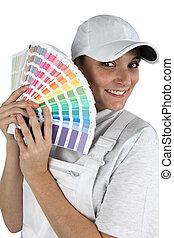 befest, paletta, kiválaszt, szobafestő