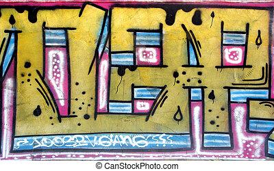 befest szobor, címke, grafitti