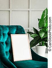 beffare, manifesto, cornice, bianco, sedia, verde