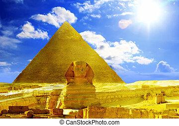 befindlich, pyramide, pharao, groß, egypt., sphinx., khufu, ...