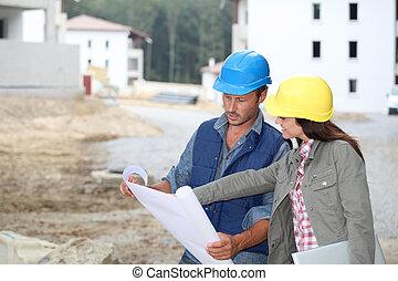befog, közül, építész, átvizsgálás, alaprajzok, képben látható, házhely