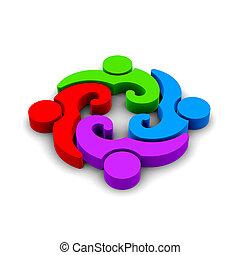 befog, szüret, csoport, közül, 4 személy