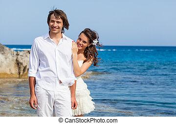 befogatt gifta, par, nära, den, hav