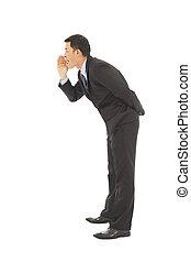 befolyás, súg, száj, üzletember, beszéd, kijelent, nyit kezezés