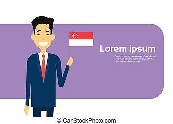 befolyás, singaporean, ügy, hely, singapore lobogó, ázsiai, üzletember, másol, transzparens, ember