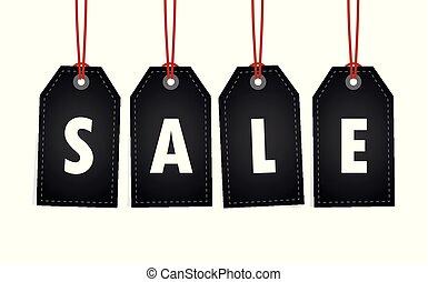 befordran, försäljning, vit, hängande, etikett, bakgrund