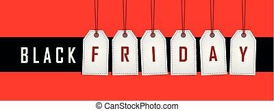 befordran, röda svarta, hängande, etikett, fredag, bakgrund