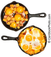 Before After Baked Eggs and Sausage with Cheese in Skillets ...