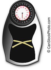 Vector illustration of bathroom scales for weight loss with before and after design and a tape measure.