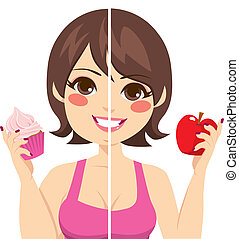 Before After Diet - Illustration of woman face split before...