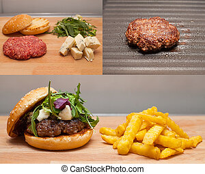 Before-after tasty gorgonzola burger