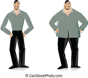 Vector illustration of a man before and after diet