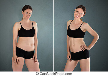 Before And After Diet Concept - Close-up Of Fat And Slim ...