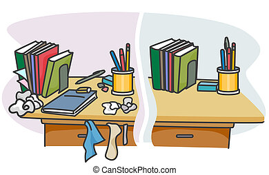 Before and After - Illustration of a Table with a Dirty and...