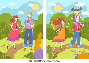 Before and after images of a pregnant woman showing her walking in a summer park with her husband with a swollen baby bump followed by them with their baby daughter giving her a piggyback ride. Vector