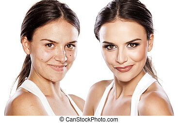 before and after make up - comparison portrait of a girl...