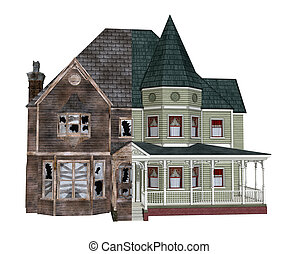 Before and After - 3D render depicting a rundown Victorian...