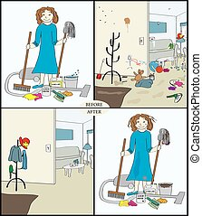 Before and After the House Cleaner