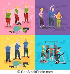 before and after weight loss peoples concept fitness vector illustration