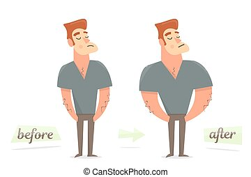 Before and after weight loss. Thick and thin man. - Thick...