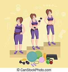 before and after weight loss women concept fitness vector illustration
