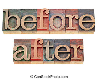 before and after words - before and after - isolated words ...