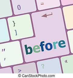 before button on computer keyboard key vector illustration