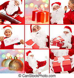 Before Christmas - Collage of Santa Claus with gifts and...