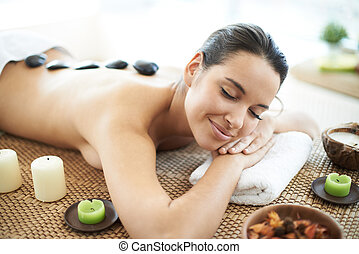 Before massage - Portrait of young female ready for the...