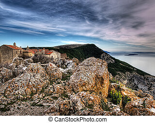 Before storm - Lubenice. Croatian village on the rocky ...