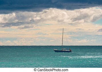 Before the storm marine with lonely boat on a Black Sea
