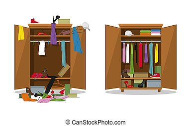 Before untidy and after tidy wardrobe. Woman clothings and ...