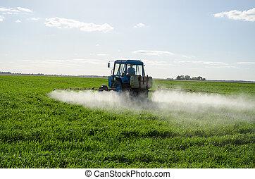 befrukta, kemisk, fält, bespruta, insektsmedel, traktor