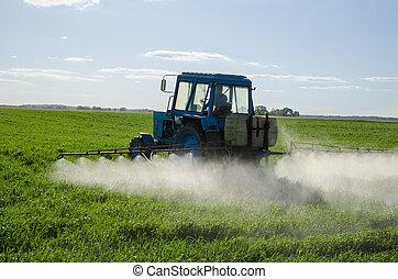 befrukta, traktor, fält, insektsmedel, insekticid