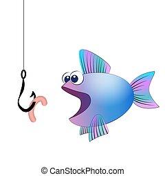 begörbít, fish, csalogat, komikus