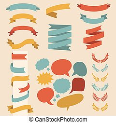 Beg vector set of ribbons, laurels and speech bubbles in flat style.