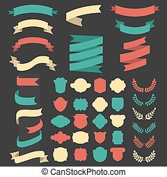 Beg vector set of ribbons, laurels, wreaths and labels in flat style.