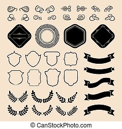 Beg vector set of ribbons, laurels, wreaths, labels and speech bubbles in flat style.
