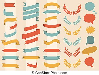 Beg vector set of ribbons, wreaths, laurels and speech bubbles in flat style.
