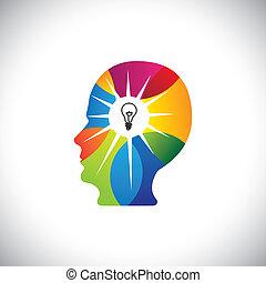 begaafd, persoon, met, genie, verstand, volle, van, ideeën,...