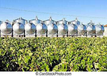 begadan, regione, serbatoi, bordeaux, francia, fermentazione