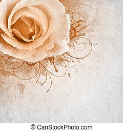 bege, casório, fundo, com, rosas