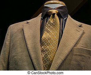 bege, corduroy, casaco, com, pretas, camisa listrada, e, laço amarelo