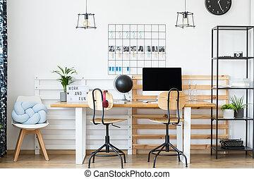 Begeisternd, Arbeitsplatz, Mit, Klassisch, Stühle