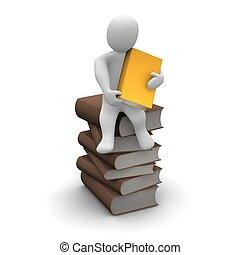 begerig, lezer, zittende , op, stapel, van, bruine , hardcover, books., 3d, gereproduceerd, illustration.