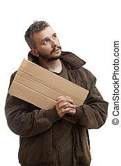 Beggar holding carton and pray