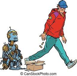 Beggar homeless robot asks for alms. Pop art retro vector ...