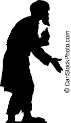 Beggar old man with a beard (grandfather), hunched, black silhouette on white background